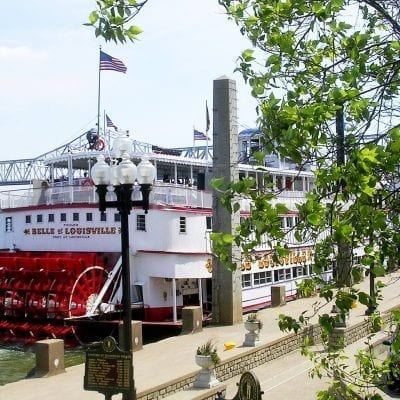 Belle of Louisville | Rear View | Steamboat | Red Paddle Wheel | Ohio River | Bridge